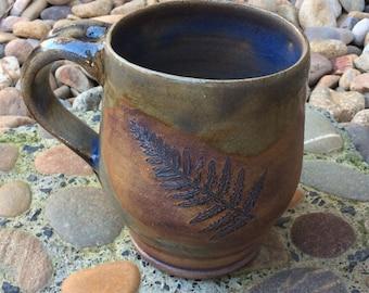 Fern print earthy blue green glazed coffee mug