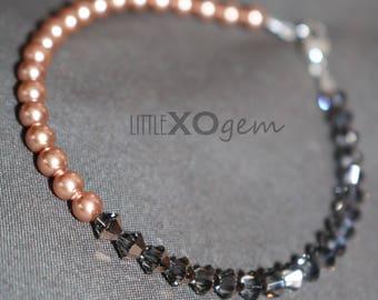Swarovski Crystal Beaded Bracelet - Rose Gold Pearl & Rose Gold Crystal