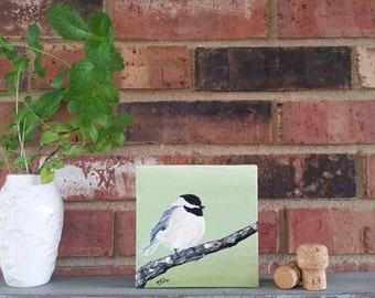 "Chubby Chickadee-5""x5"" Original Acrylic Painting"