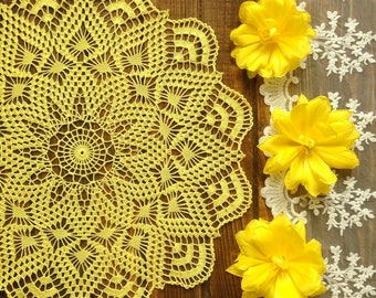 Doily crochet doily Round  yellow doily Crocheted doily Lace doily Gift idea