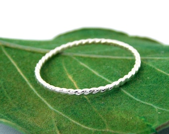 Sterling Silver Twisted Rope Ring: sterling silver ring, dainty ring, simple ring, stacking ring, skinny ring, twisted ring, small ring