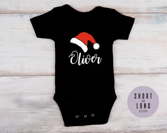 First Christmas Baby Outfit, Christmas Baby Hat Personalized Bodysuit, Christmas Baby Shower Gift, First Christmas, Personalized Baby Gift