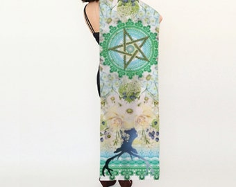 Silk altar cloth, Lammas altar cloth, pagan wheel of the year late summer, 16 by 72 inches, Large silk scarf, pentagram, tarot cloth, wiccan