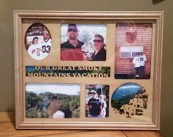 11x14 Great Smoky Mountains Vacation Laser Engraved Picture Frame with 6 Photo Holes Collage