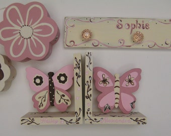 hand painted room accessories,gift set,FIVE coordinating items,pink,cream,brown,girls room decor,girl gift,new baby girl gift,nursery decor