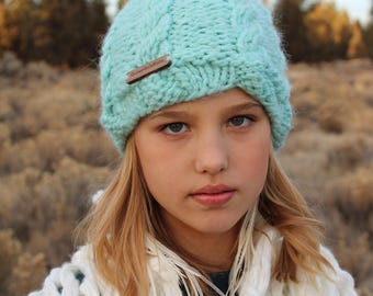 Turquoise Cable Knit Beanie