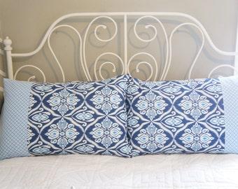 Queen Pillow Shams - Set of two Queen Pillow Shams, 20x30, blue ikat, patchwork, bedding