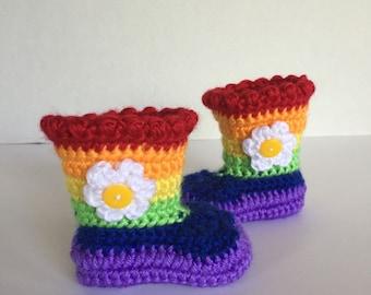 Crochet Baby Booties, 0-3 Months, Rainbow