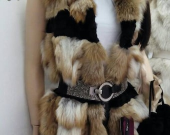 New!Natural Real Red Fox Fur vest with black fur stripes