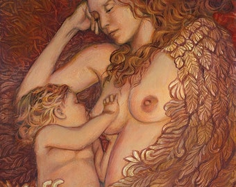 The Nestling 11x14 Fine Art Print Mythology Art Nouveau Angel Surreal Breastfeeding Mother and Child Goddess Art