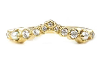Diamond and Pearl Cluster V Ring - Handmade Chevron Stacking Side Band