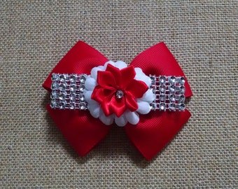 Girls Hairbow, Red Hairbow, Little Girls Hairbow, Girls Hair Accessory, Rhinestone Hairbow, Flower Hairbow, Red Rhinestone Bow
