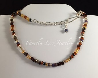 Czech Glass Seed Bead Necklace with Silver Clasp