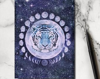 Tiger Notebook - Tiger Jotter -Tiger Stationery - Moon Notebook - Moon Jotter - Tiger Notepad