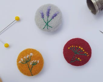 flower pin badge set - mustard burgundy and grey hand stitched badges  - recycled eco felt - eco stocking filler - flower pin badge