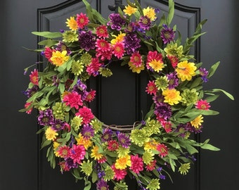 NEW Summer Door Decor, SUMMER Wreath for Front Door, Summer Flower Wreath, Spring/Summer Wreath, Dasiy Door Wreaths, Multi Colored Wreath