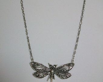 Antique Silver Necklace with Dragonfly