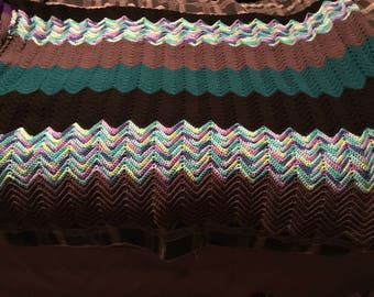 Multicolored twin size afghan