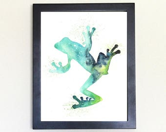 Frog Spirit Animal Art Print Watercolor Totem Guide