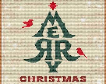 Christmas Cross Stitch Chart, Merry Christmas Cross Stitch Pattern PDF, Holiday Cross Stitch, Embroidery Chart