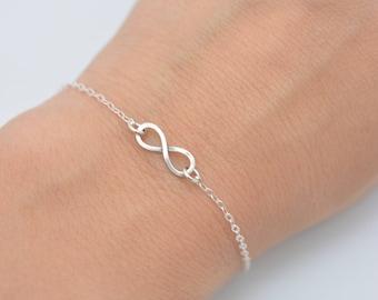 Tiny Infinity Bracelet, Sterling Silver Infinity Bracelet, Mini Infinity 925 Sterling, Gift for Her 0397
