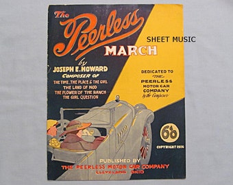Sheet Music, Peerless Motor Car March, Convertible Auto, 1917, Cleveland Ohio Company