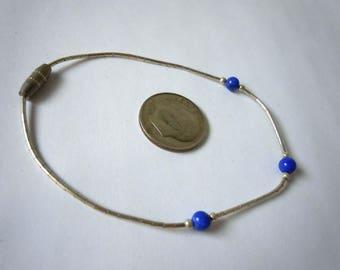 Sterling Silver Lapis Lazuli Bracelet 7 In.