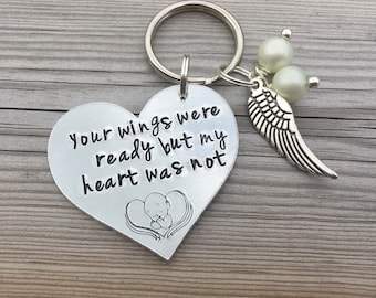 Hand Stamped Angel Baby, infant loss keyring 'Your wings were ready but my heart was not' memorial gift, baby loss keyring