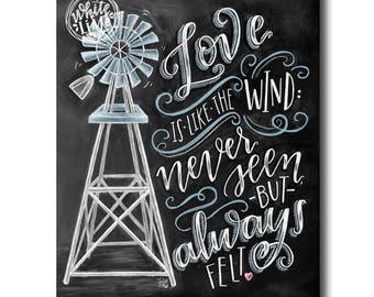 Windmill Art, Love Print, Windmill Decor, Love Is Like The Wind, Chalk Art, Chalkboard Art, Windmill Blades, Farmhouse Decor, Love Sign