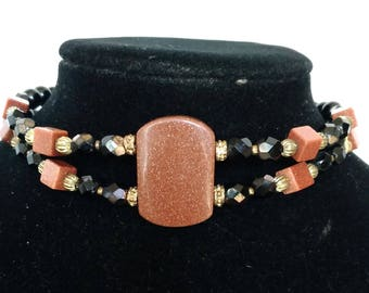 Goldstone and Glass Bead Choker