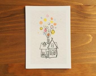 Up House Watercolor Print 2.5x3.5 by Kendra Minadeo Nursery Art, Baby Art, Nursery, Pixar, Balloons