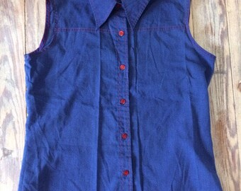 70/80s fruit of the loom sleeve leas button up