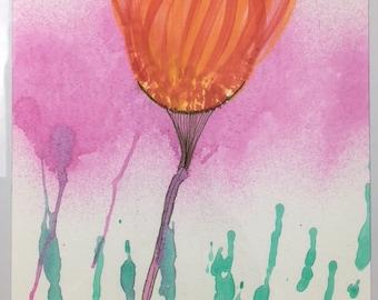 Watercolor Flower Fire