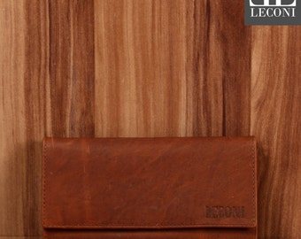 LECONI Wallet Wallet Women's wallet nature modern landscape leather brown LE9008-Wax