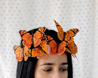 Orange Monarch Large Butterfly Crown - princess, fairy, bride, woodland crown