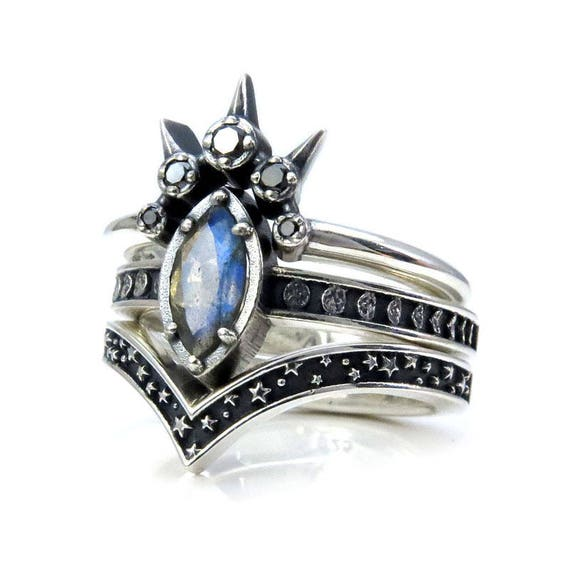 Labradorite Marquise Moon and Star Engagement Ring Set