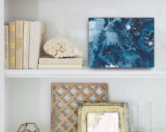 Watercolor Ocean Painting Abstract Canvas Print - Aqua Teal Blue Sea Coastal Beach Giclee Art Print - 8x10/11x14/12x16/16x20 - Maritime