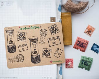 Royal Mail doodle edition- decorative vintage look kraft watercolour planner stickers suitable for any planner -496-