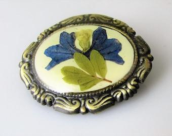 SALE! Brooch and Pendant,Blue Lobelia Blossom, Pressed Flower Brooch and  Pendant, Real Flowers, Resin (1159)