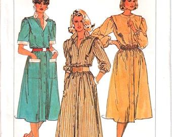 Simplicity 6940 Woman Shirt-Waist Dress, Shirt Collar Dress Button-Front Elastic Waist Dress Sewing Pattern Size 6-8 Vintage 1980s UNCUT
