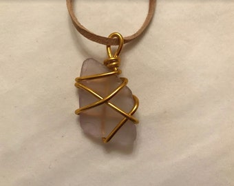 Purple/Gold Tumbled Glass Beach Necklace