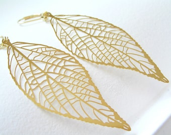 Gold Feather Leaf Earrings