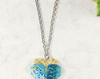 Collier Turquoise | Pendentif en coeur | Bijou en origami |  Origami par Ökibo