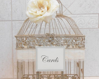 Champagne Gold Wedding Birdcage Card Holder | Wedding Card Box | Wedding Card Holder | Wedding Birdcage