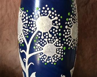Flower Vase,white Wedding Gift,Summer Wedding,Dandelion vase,Glass Vase,painted vase,White Vase,Blue Vase,Mother's Day gift