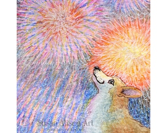 Welsh Corgi dog 5x7 8x10 11x14 print pup bangless fireworks celebration party fourth July new year's eve by Susan Alison watercolor painting