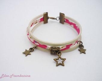 Bracelet triple row liberty mitsi and leather