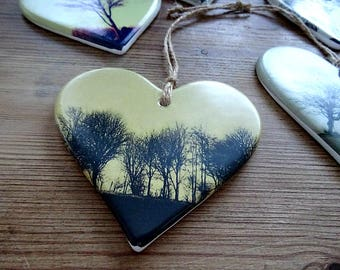 Hanging Ceramic Heart Shaped Ornament - Winter Trees - Photography