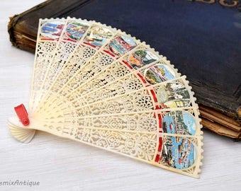 Vintage Ribbon Lacy Celluloid Tourist Devon Seaside Resorts Images Souvenir Folding Fan Made in Hong Kong Vintage Tourism Memorabilia