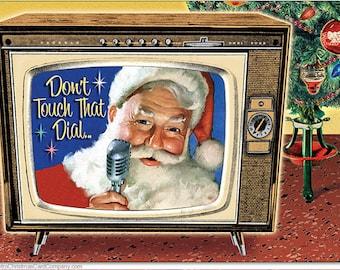 TV Santa Christmas Cards, 8 cds + color env | Vintage Christmas Cards | Retro Christmas Cards | Mid Century Christmas Cards | Santa Cards